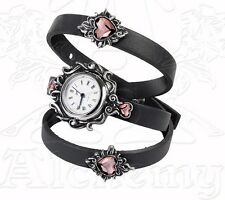 Heartfelt Pink Crystal Sacred Heart Women's Strap Watch AW24 by Alchemy Gothic