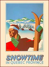 Snowtime In Quebec Provence Canada Canadian Travel Advertisement Poster