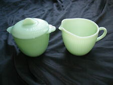 MINT JADITE FIRE KING JANE RAY CREAMER AND SUGAR SET JADEITE