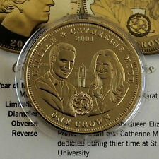 2011 WILLIAM & CATHERINE TDC GOLD LAYERED PROOF CROWN - coa a
