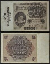 GERMANIA/GERMANY 500 MILLIARDEN MARK ON 5000 MARK 15/3/1923 (PICK:#124) #B1206