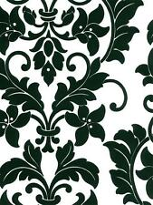 Wallpaper Reto Modern Black Heart Damask on White Background