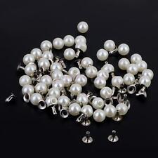 100 Pearls Rivets Studs Set for Dress Clothes Bracelet Bag Crafts Ivory 8mm
