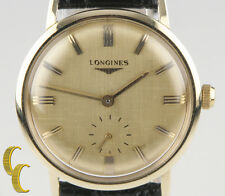Vintage Longines Classic 14k Gold Men's Wrist Watch Leather Hand Wind Working