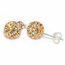 Genuine Sterling Silver 5mm Shamballa Crystal Ball Stud Earrings (Peach)