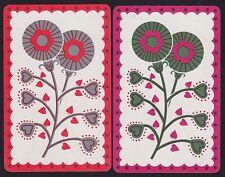 2 Single VINTAGE Swap/Playing Cards U/L ID FLOWERS 'ERINDALE' DECO HEART LEAVES