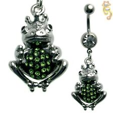 Frog Green Black Clear Belly Ring CZ Navel Dangle Body Jewelry Beautiful Steel