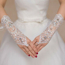 New Lace White Fingerless Short Paragraph Rhinestone Bridal Wedding Party Gloves