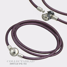 Authentic Pandora Silver Small Intuition Purple Leather Bracelet 590714CPE