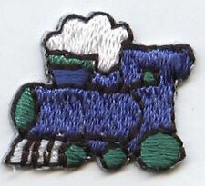 Iron On Embroidered Applique Patch Childrens Small Mini Choo Choo Train Blue