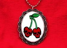 CHERRY SKULL TATTOO PENDANT NECKLACE ROCKABILLY