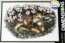 Dimensions Counted Cross Stitch Kit Fawn & Blossom Deer 35243 Flower Picture and