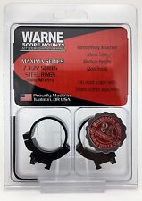 Warne 731G 30mm / Medium Fixed Rimfire Steel Scope Rings 7.3/.22 Gloss Black