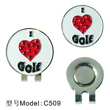 I Love Golf  Golf Ball Marker With Magnetic Hat Clip Clamp New Golf Gift