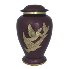Golden Doves Maroon Large Adult Memorial Urn for Ashes