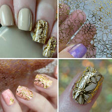 New Women 3D Golden Flower Nail Art Manicure Stickers Decals DIY Tips Decoration