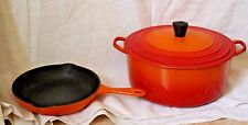 Vtg French Set of Dutch Oven and Frying Pan 23 Le Creuset Enamel Cast Iron Lava