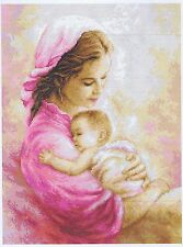 Mother And Baby Child In Pink Cross Stitch Kit 15 x 20cm Luca S G536