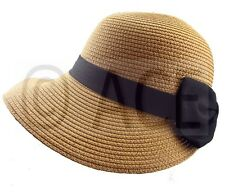 Womens Straw Summer Hats Ladies Wide Brim Stylish Black Bow Detail Sun Hat