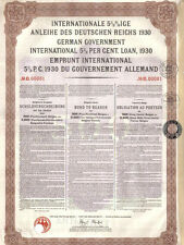 Germany External Loan 1930 Bond Belgium issue 500 belgas Young coupons