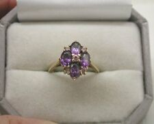 A Lovely Ladies 9ct Gold Amethyst And Pink Coloured Cubic Zirconia Dress Ring