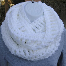 Solid White INFINITY SCARF Long Crochet Knit Circle Handmade Winter Loop Cowl