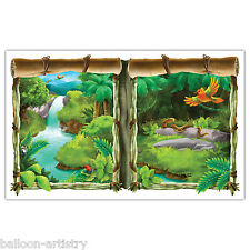 Jungle Wild Fun Animals Party Scene Setter Waterfall Window View Prop Decoration