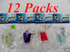 12 packs rock cod squid rigs two bulb squid rigged trolling lures - 3 x 4 colors