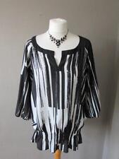 PLANET Ladies Black & White Patterned Sheer Top Smock Detail Size 10 VGC