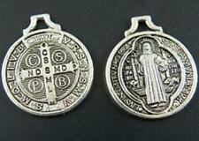 40pcs Tibet Silver Saint Benedict Medal Cross Charms 21x18x1mm 10178-1