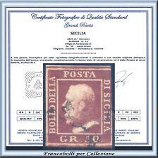 ASI 1859 Sicilia 50 gr. lacca bruno n. 14 Usato Certificato Antichi Stati Italia