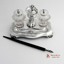 Dutch Inkstand 1851 Crystal Glass  833 Silver