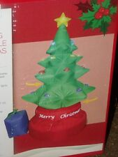 MERRY CHRISTMAS LIGHTED AIRBLOWN INFLATABLE ROTATING ANIMATED TREE GIFT SIGN 5'