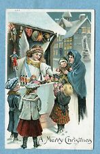 """A4968   Postcard  """"A Merry Christmas""""  Angel Selling Toys To Children From Stall"""