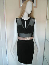 BOO HOO - BLACK NET TOP . SEQUNED WAIST BANDED MINI DRESS SIZE 12