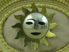Vintage Sterling Silver Brass Hollow Shadow Pierced Sun Pin Brooch Mexico TM-01