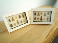 Neolithic Arrowheads in 3D Picture Frames x 2, Authentic Artifacts 4000BC (0163)