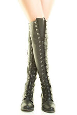 Odor Free Women Over The Knee Thigh High Military Combat Riding Boot Lace Up Sz6