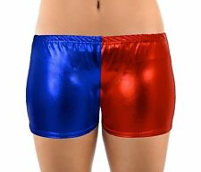 BRAND NEW WET LOOK RED BLUE HARLEY QUINN HOT PANTS
