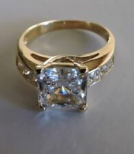 Solid 2.00ct Engagement ring 14k Yellow Gold Princess Cut Man made diamond Ring