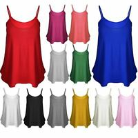 HOT Womens Plain Swing Vest Sleeveless Top Strappy Cami Ladies Size Flared CmiSm