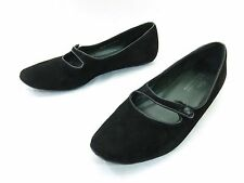 Donald J Pliner Henna Mary Jane Flats Womens 8.5 Black Suede Slip On Dress Shoes