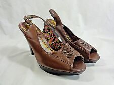 "BONGO Strappy Dress Shoes Women Size 7 BROWN City Light Open Toe 4"" Heels"