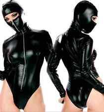 Sexy Women Faux Leather Zipper Bodysuit Lingerie Fancy Costume Catsuit Clubwear