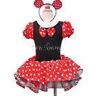 Mädchen Minnie Mouse Maus Kostüm Party Tutu Kleid+Ohren Gr.86 92 104 116 128 140