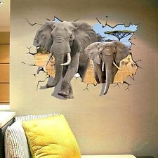 ELEPHANT 3D POSTER WINDOW ROOM WALL ART STICKERS VINYL HOME DECORATION DIY DECOR