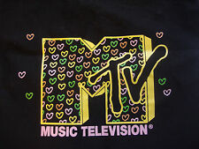 Black MTV Tote Bag with Heart Print Logo Shopper Tote Music Television purse