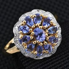 Beautiful A Grade Tanzanite & Diamond 14K Y Gold/925 Ring Size M