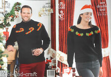 "KING COLE CHRISTMAS JUMPERS XMAS SWEATERS DK KNITTING PATTERN 28"" TO 46"" (3809)"