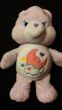 "CARE BEARS 8"" Purple SWEET DREAMS Pink Moon Sleep Bean Bag Soft Plush Toy Bear"